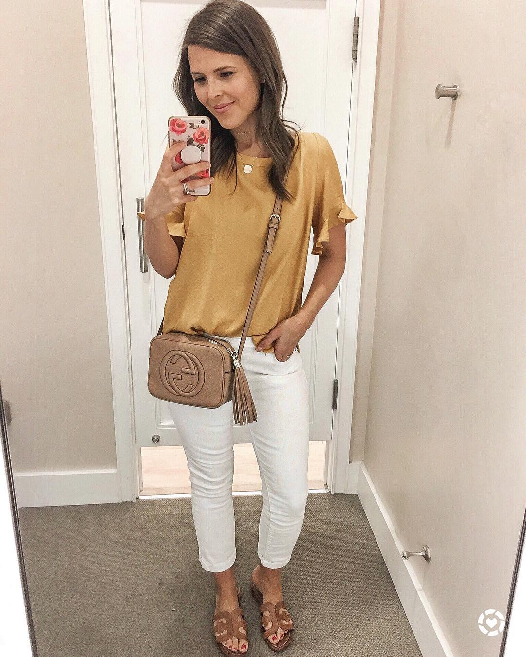 loft golden yellow ruffle cuff top briebemisrearick