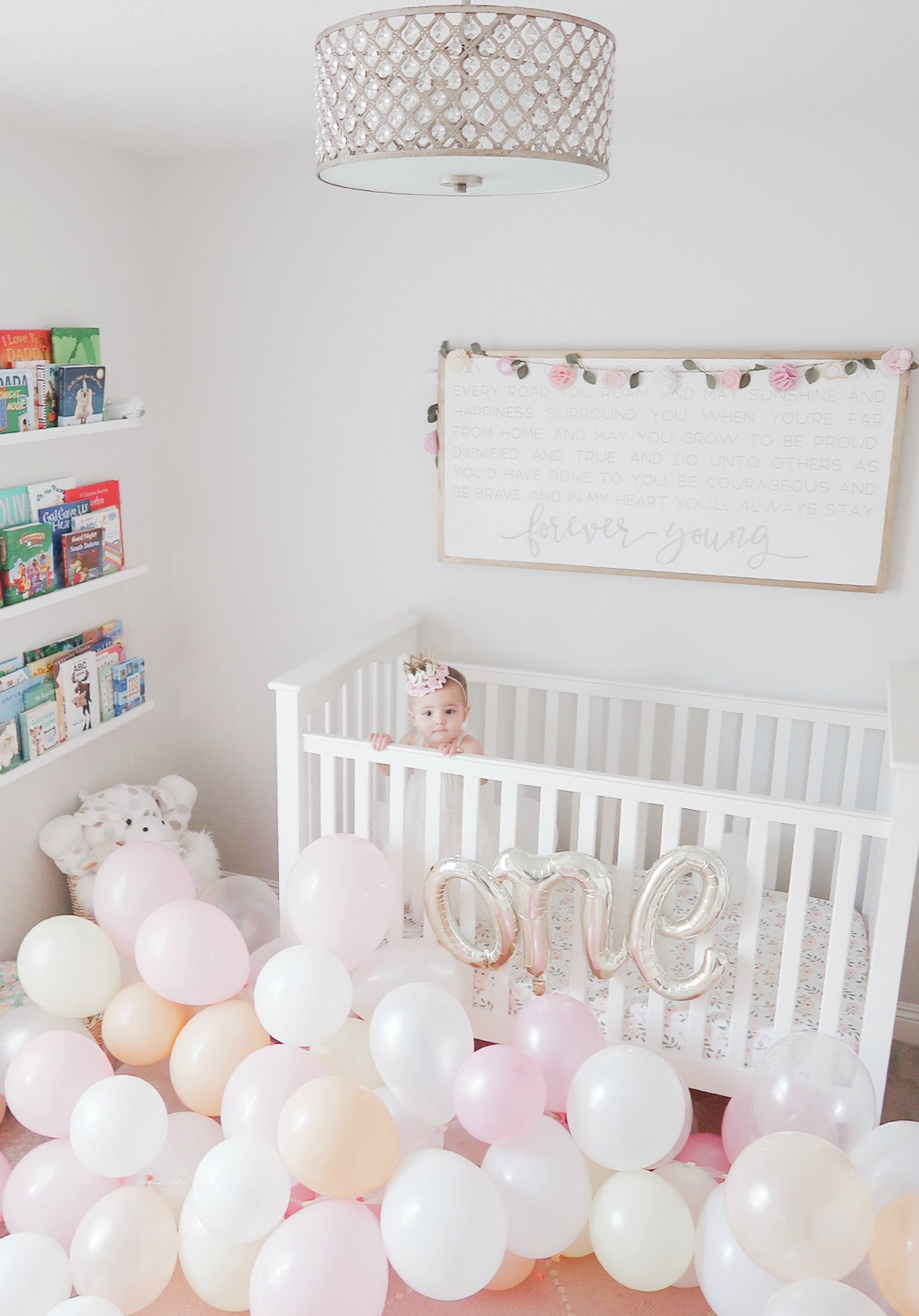 first birthday balloons crib