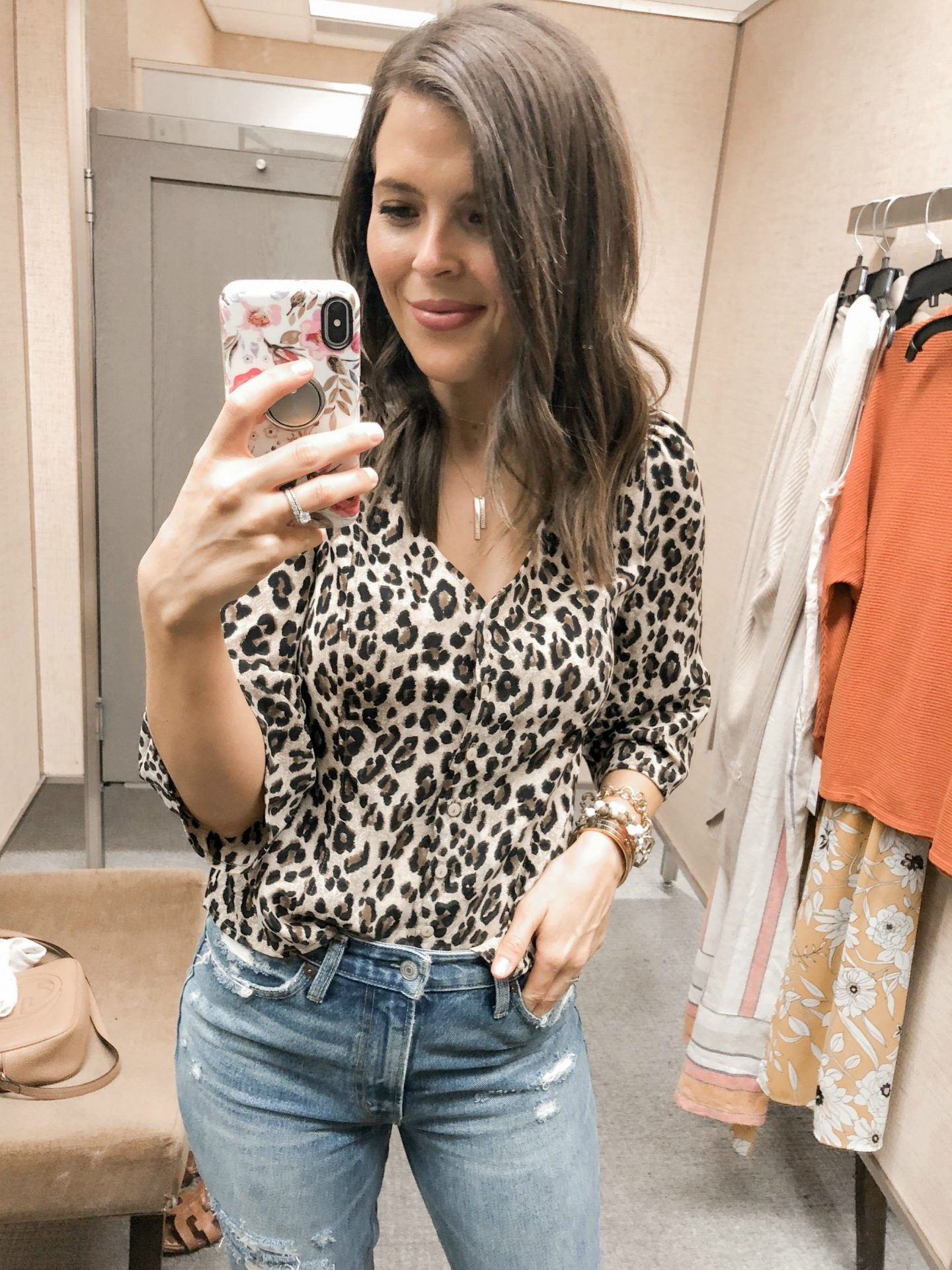 fall fashion try on haul nordstrom bp button front leopard print blouse