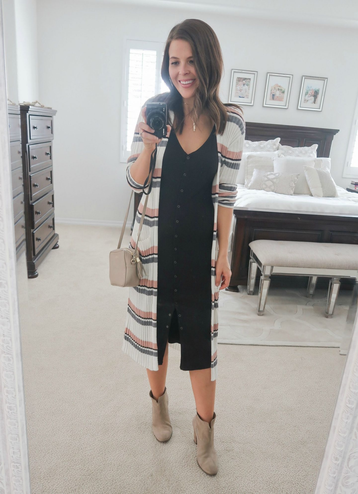 fall fashion try on haul nordstrom bp stripe midi cardigan