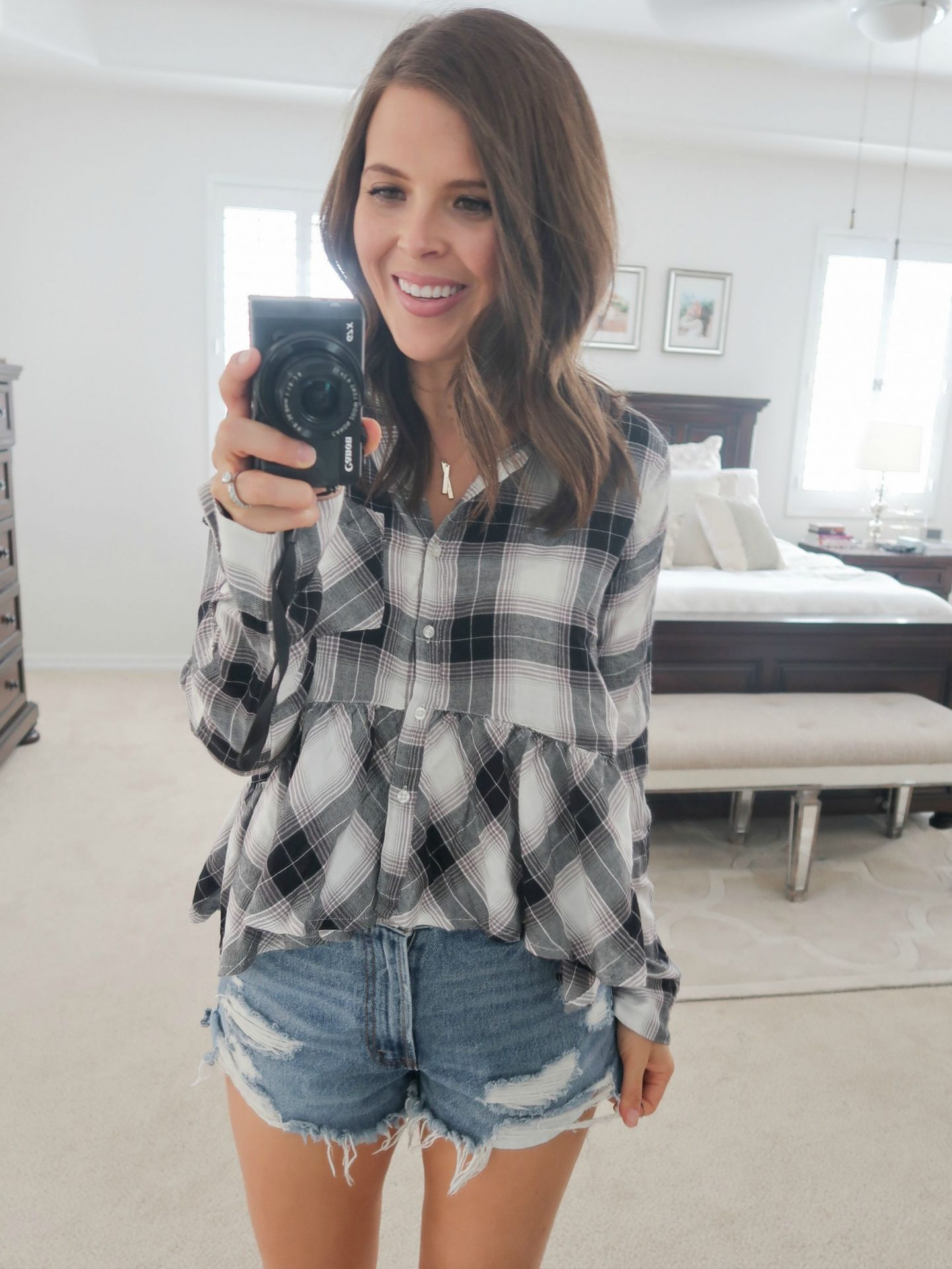 fall fashion try on haul nordstrom bp plaid peplum shirt