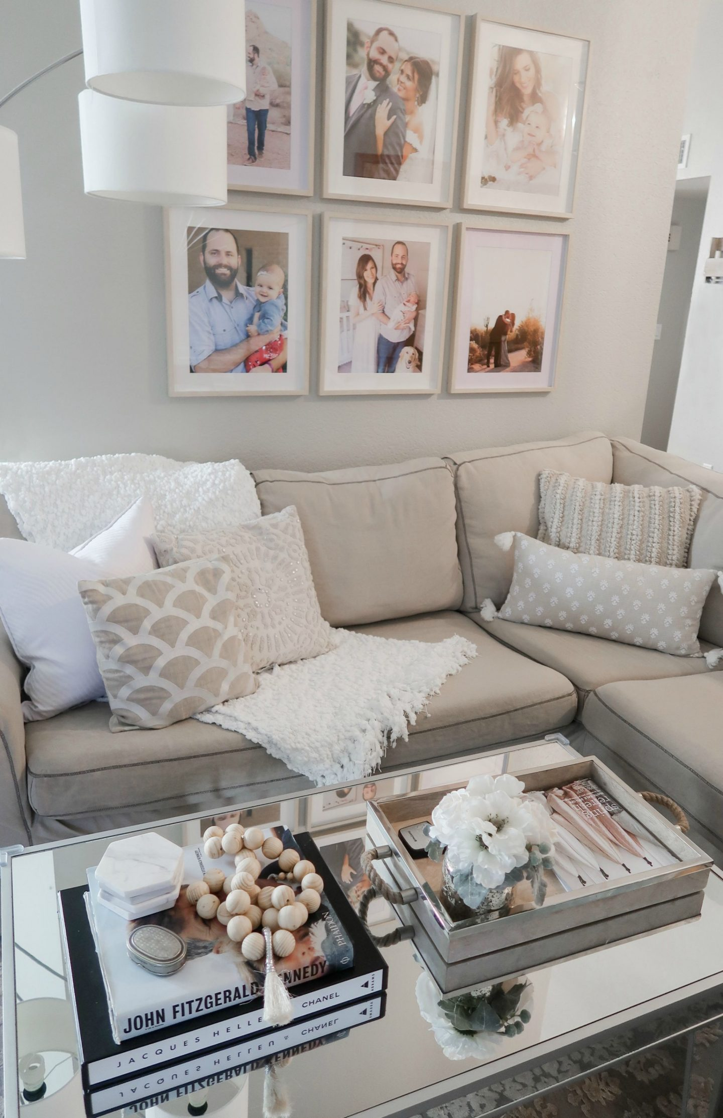 neutral living room gallery wall