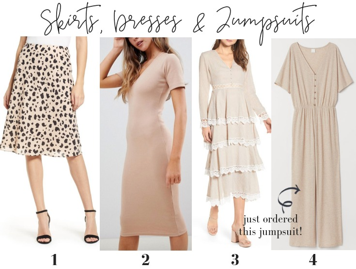 neutral dresses skirts jumpsuits spring