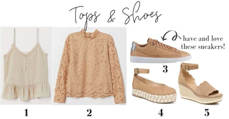 spring neutral shoes tops
