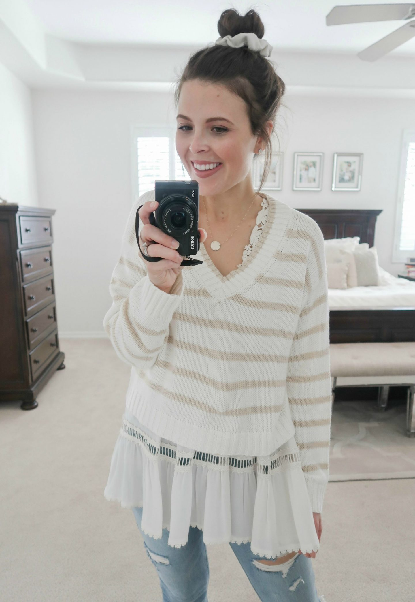 American Eagle AE Striped V-Neck Pullover Sweater, Cream