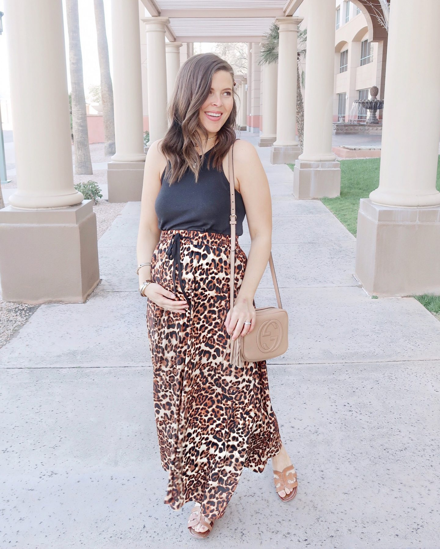 amazon leopard high waisted maxi skirt