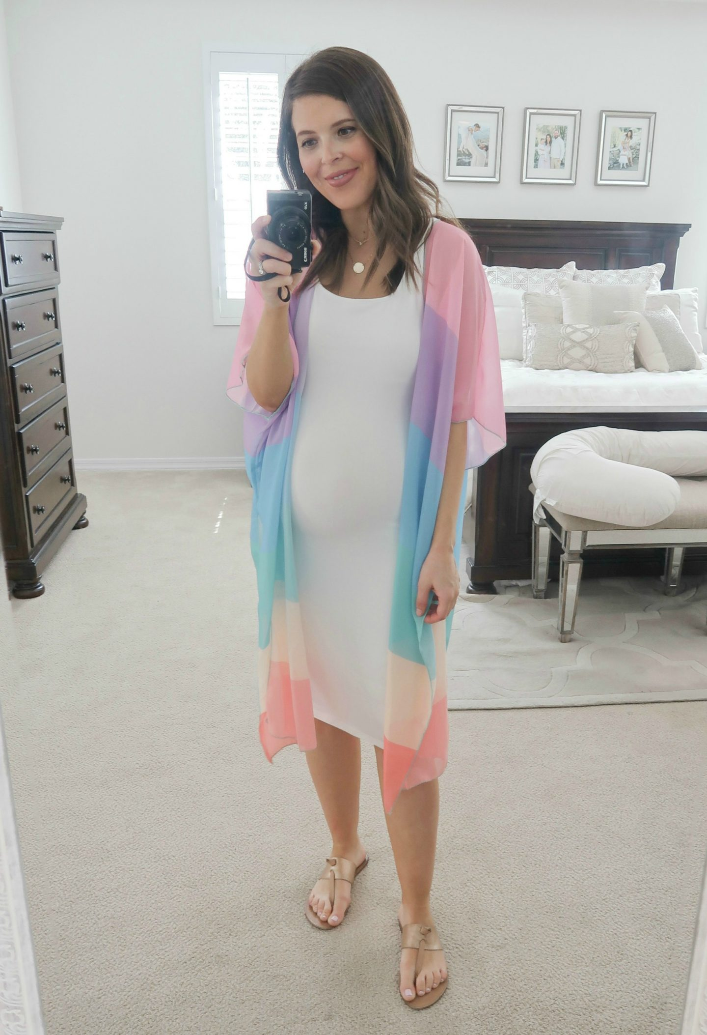 amazon white bodycon dress rainbow stripe kimono