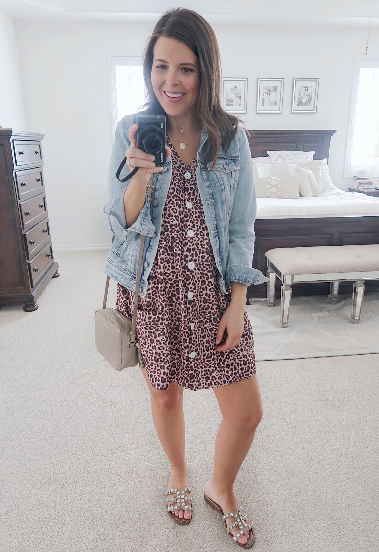 amazon try-on brie_bemis_rearick_amazon_leopard_button_down_loose_swing_dress_with_pockets_1