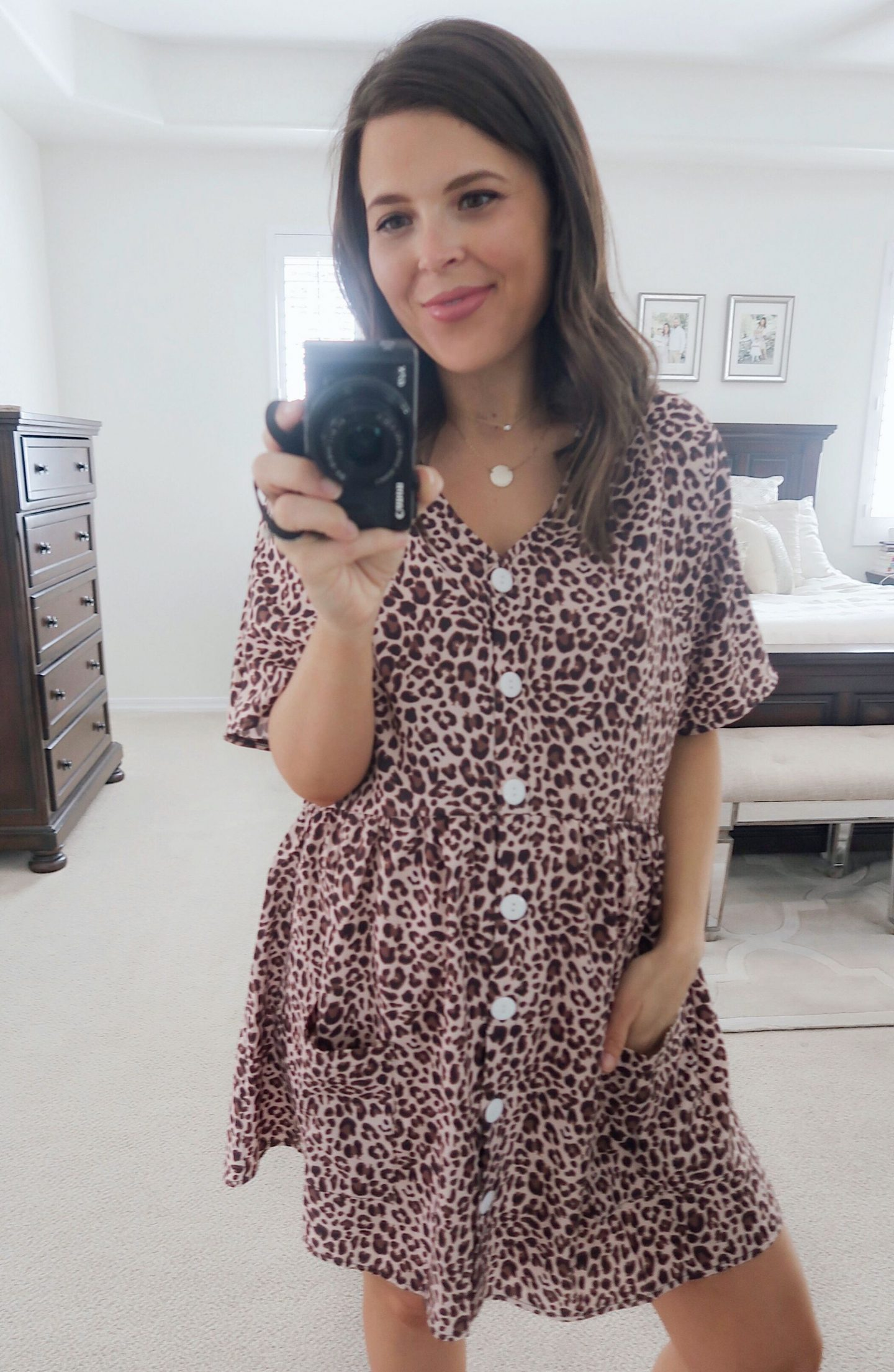 amazon try-on brie_bemis_rearick_amazon_leopard_button_down_loose_swing_dress_with_pockets_2