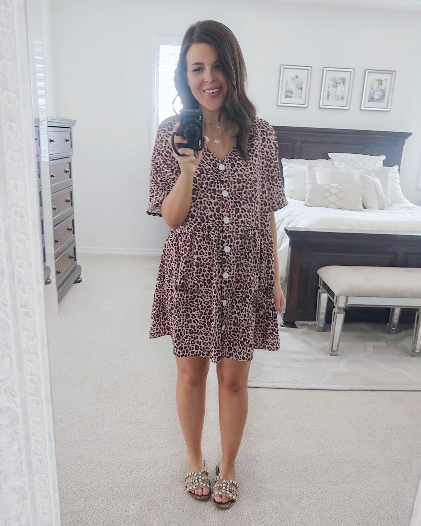 amazon try-on brie_bemis_rearick_amazon_leopard_button_down_loose_swing_dress_with_pockets_3
