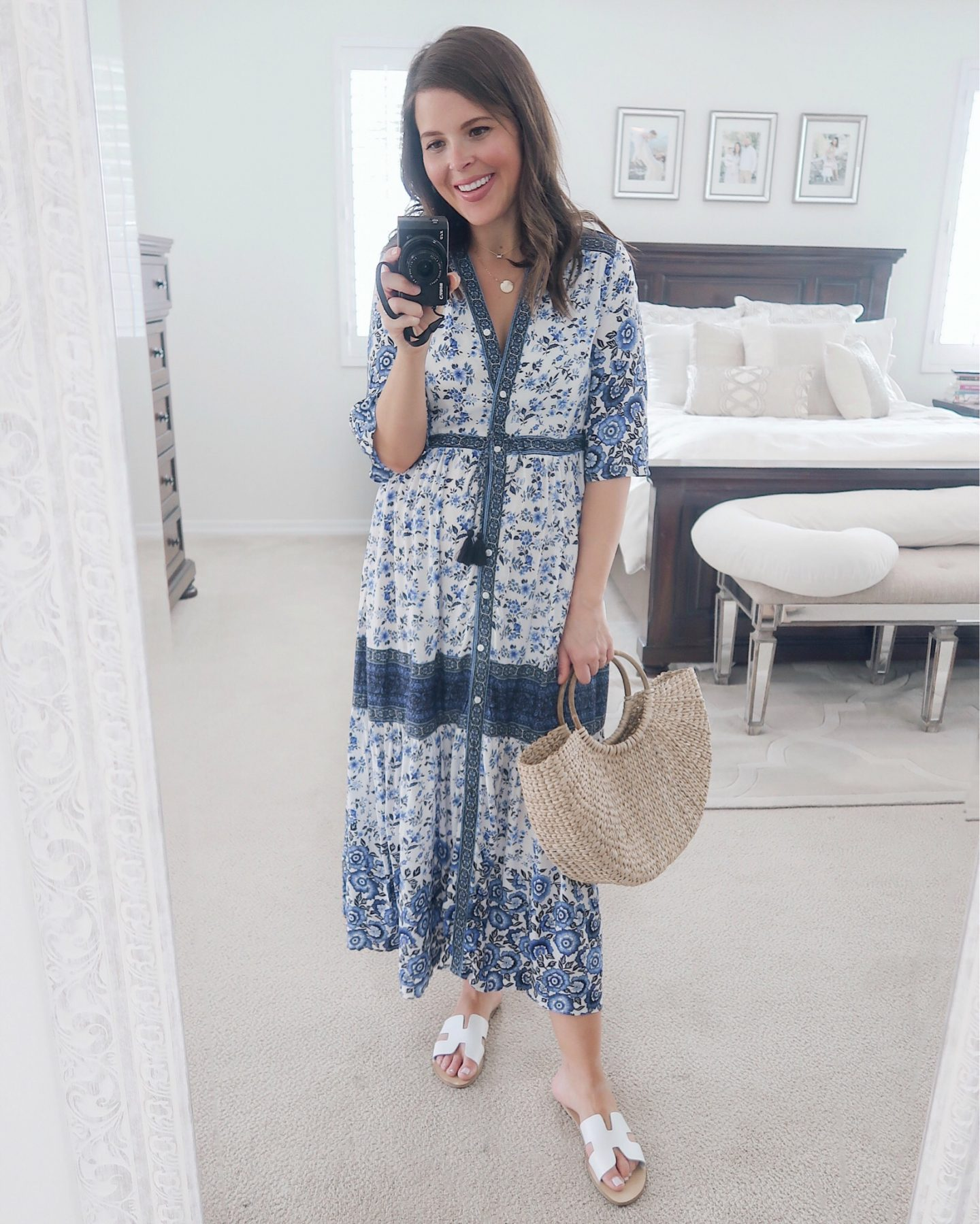 amazon try-on brie_bemis_rearick_amazon_women_summer_floral_print_drawstring_bohemian_maxi_dress