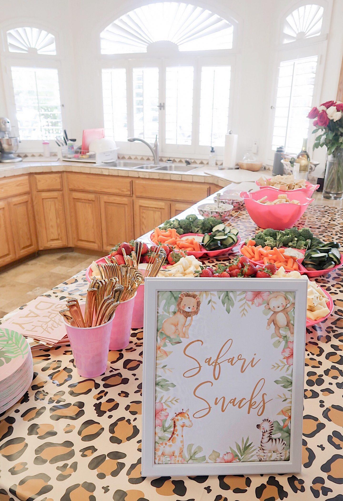 brie bemis rearick safari girl birthday party summer tropical inspiration snack table