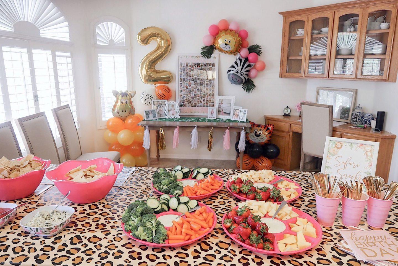 brie bemis rearick safari girl birthday party summer tropical inspiration food table
