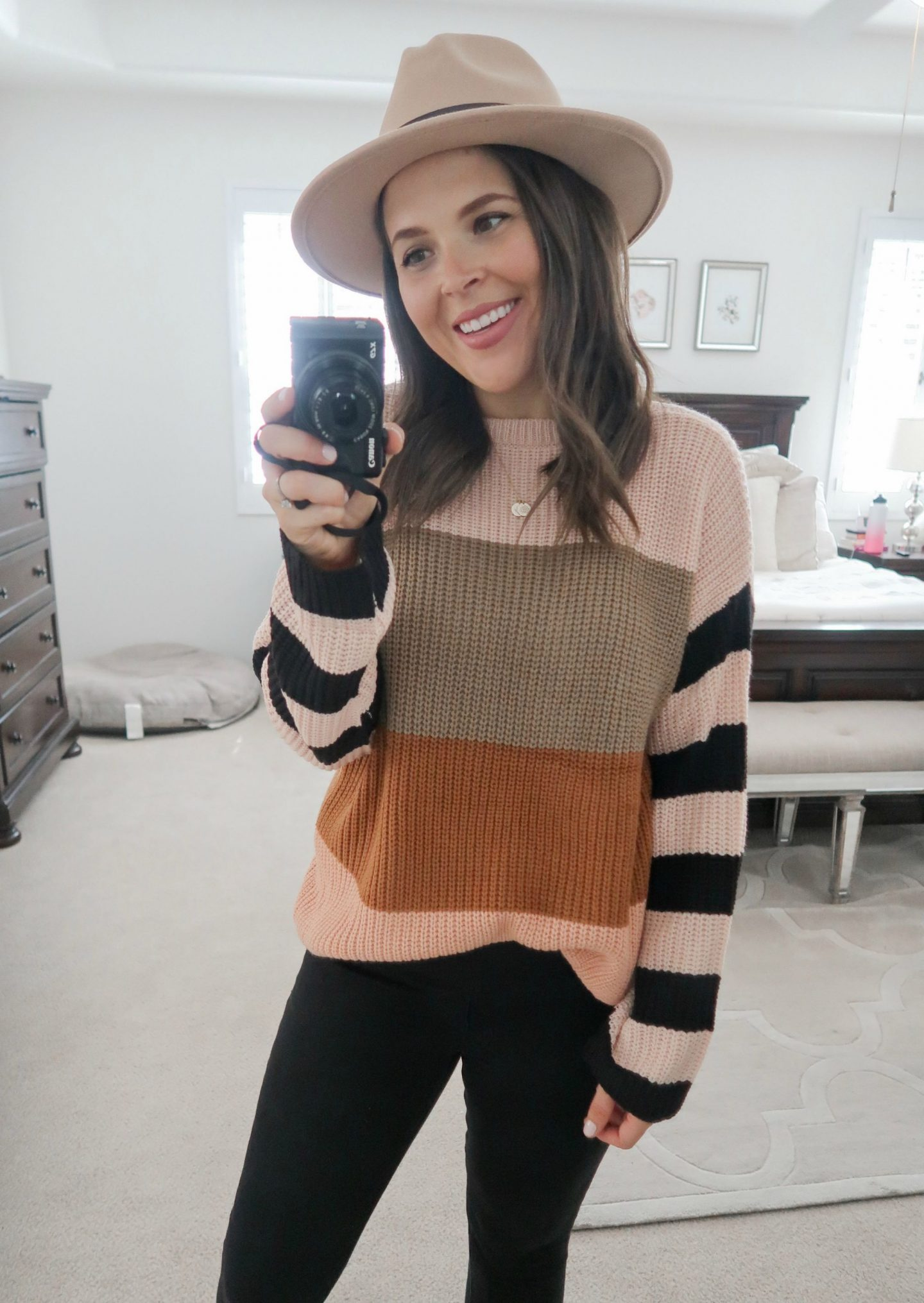 september amazon try-on session fall color block sweater