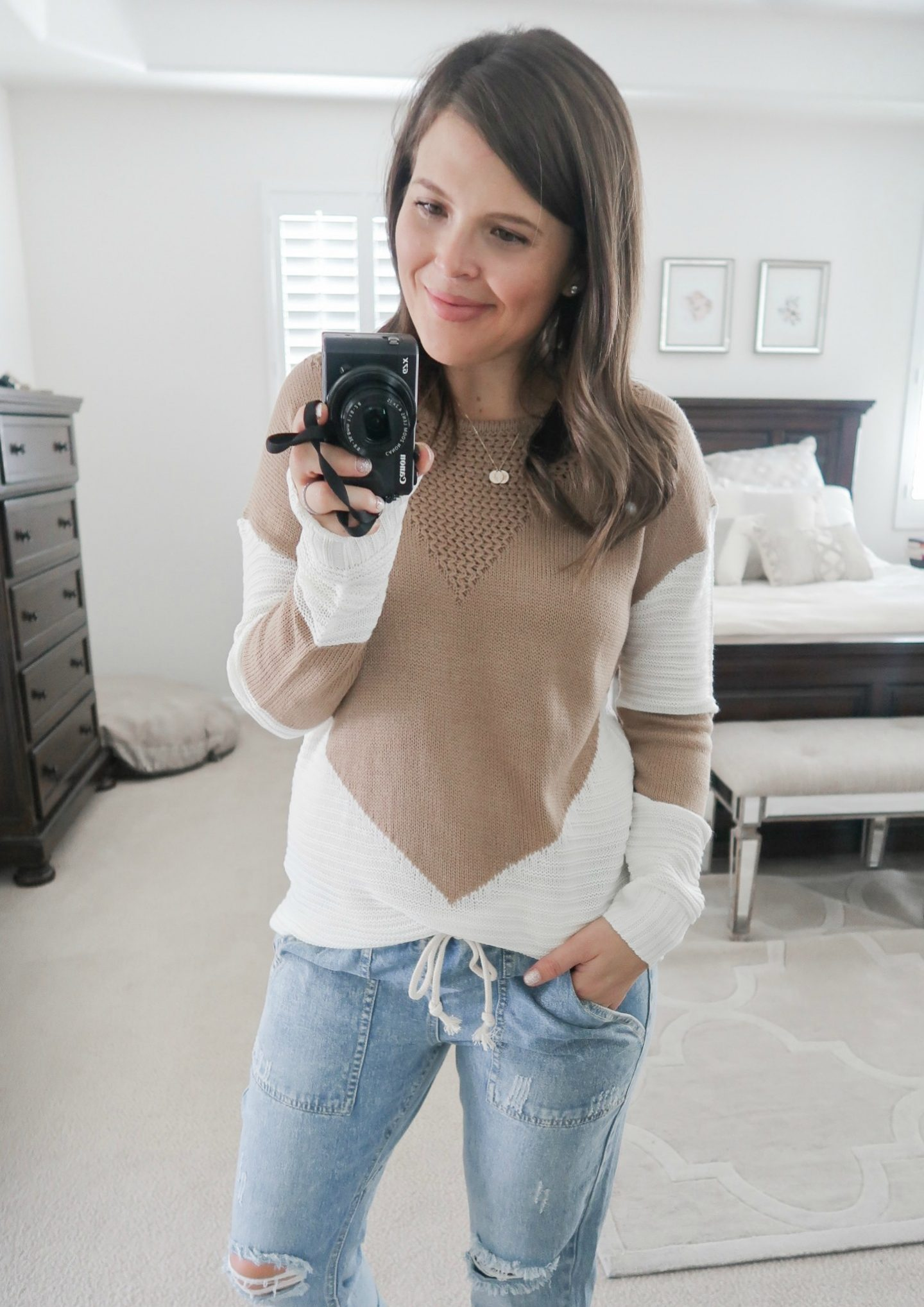 september amazon try-on session color block sweater