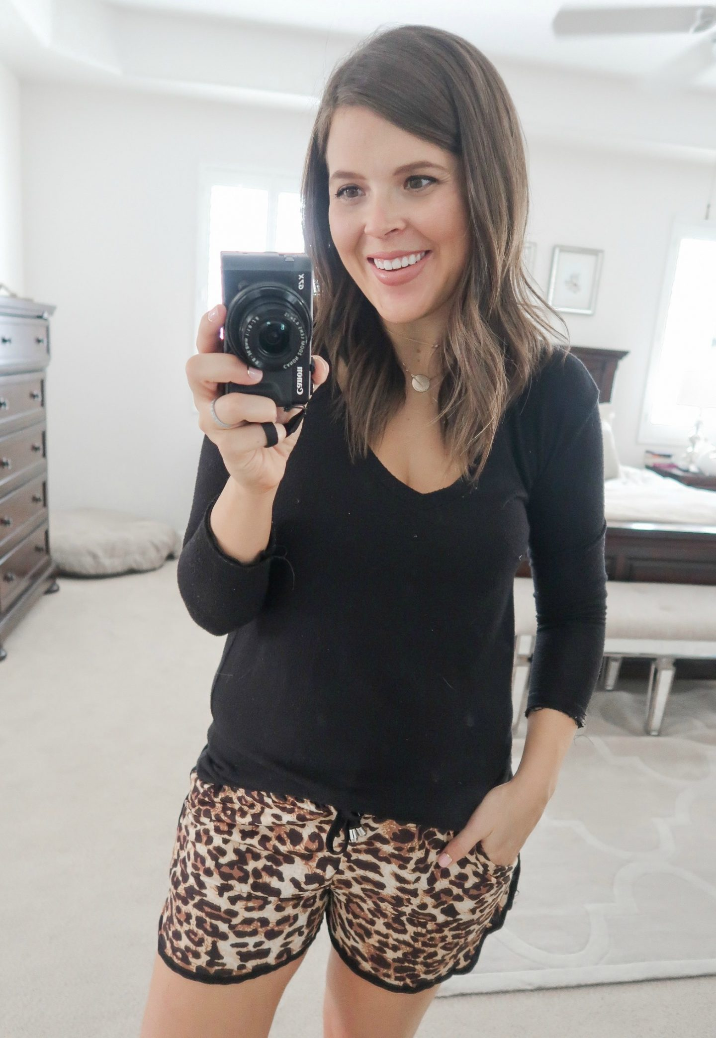 september amazon try-on session leopard lounge shorts