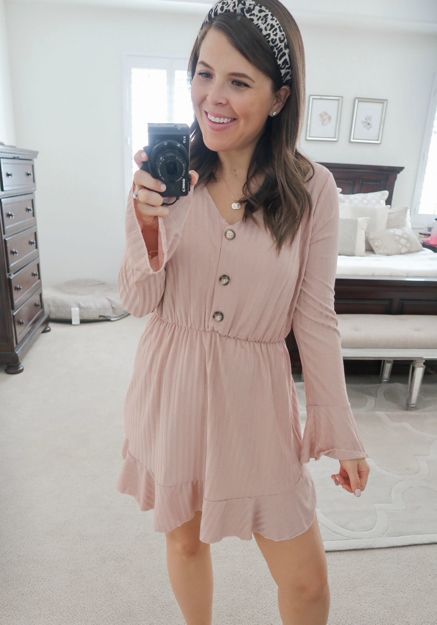september amazon try-on session mauve dress