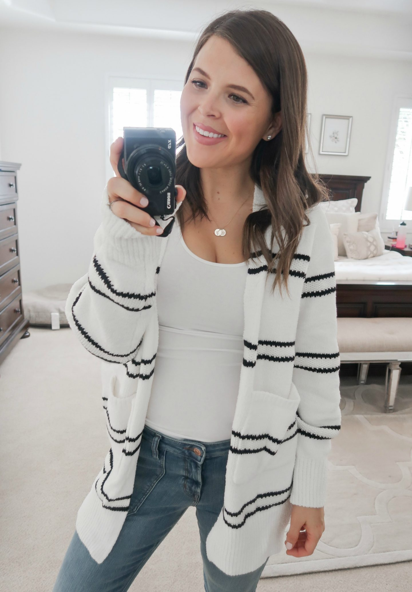 september amazon try-on session striped sweater