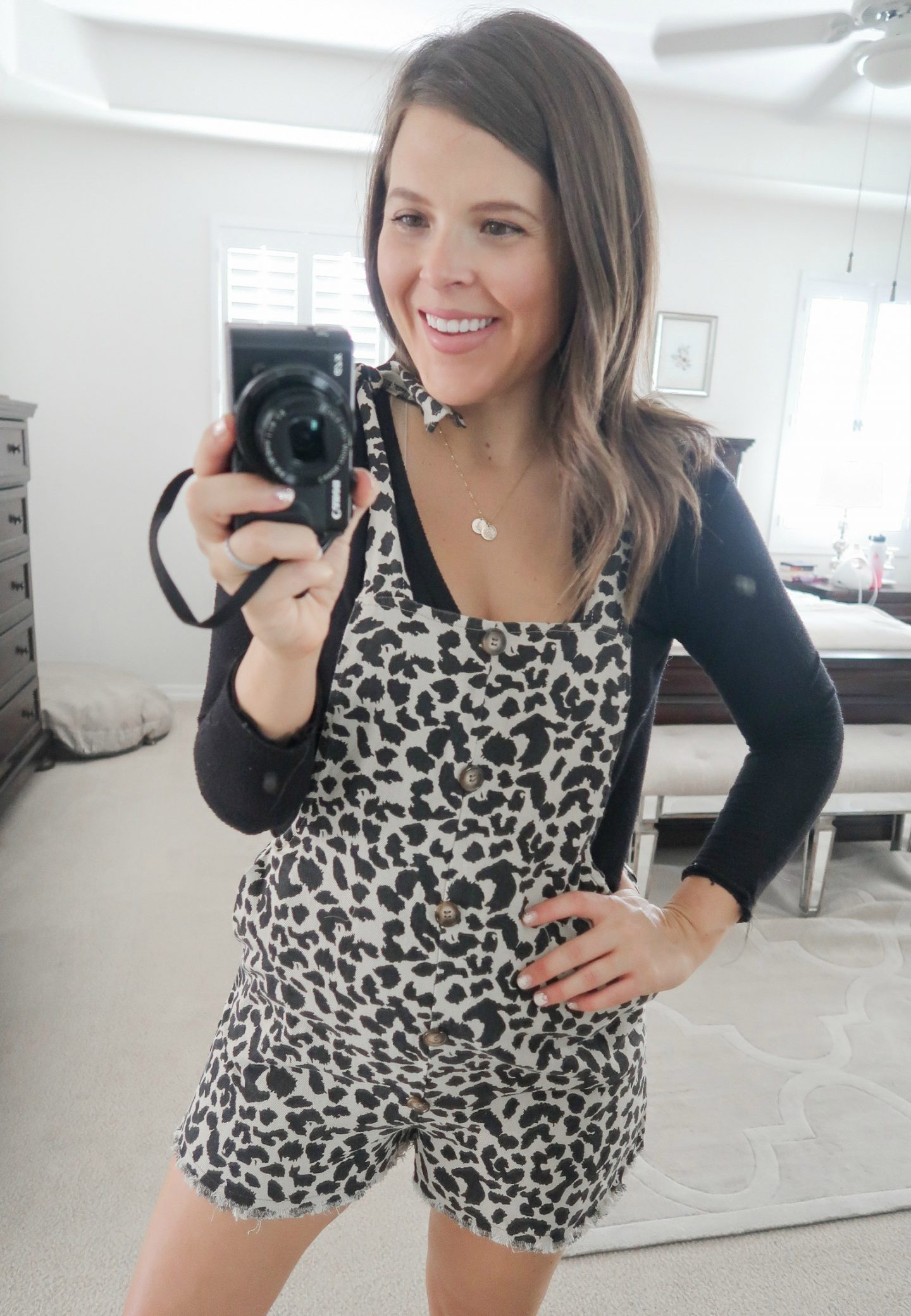 september amazon try-on session leopard overalls
