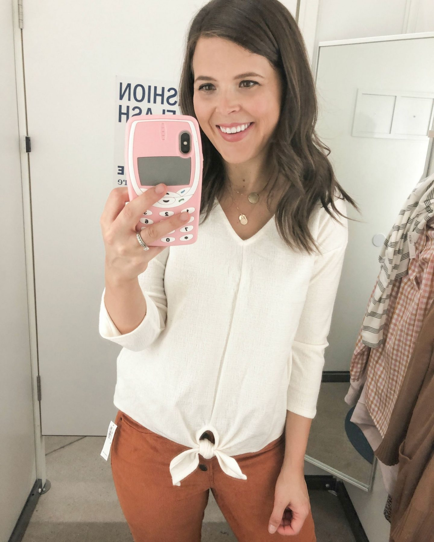 old navy fall fashion tie blouse