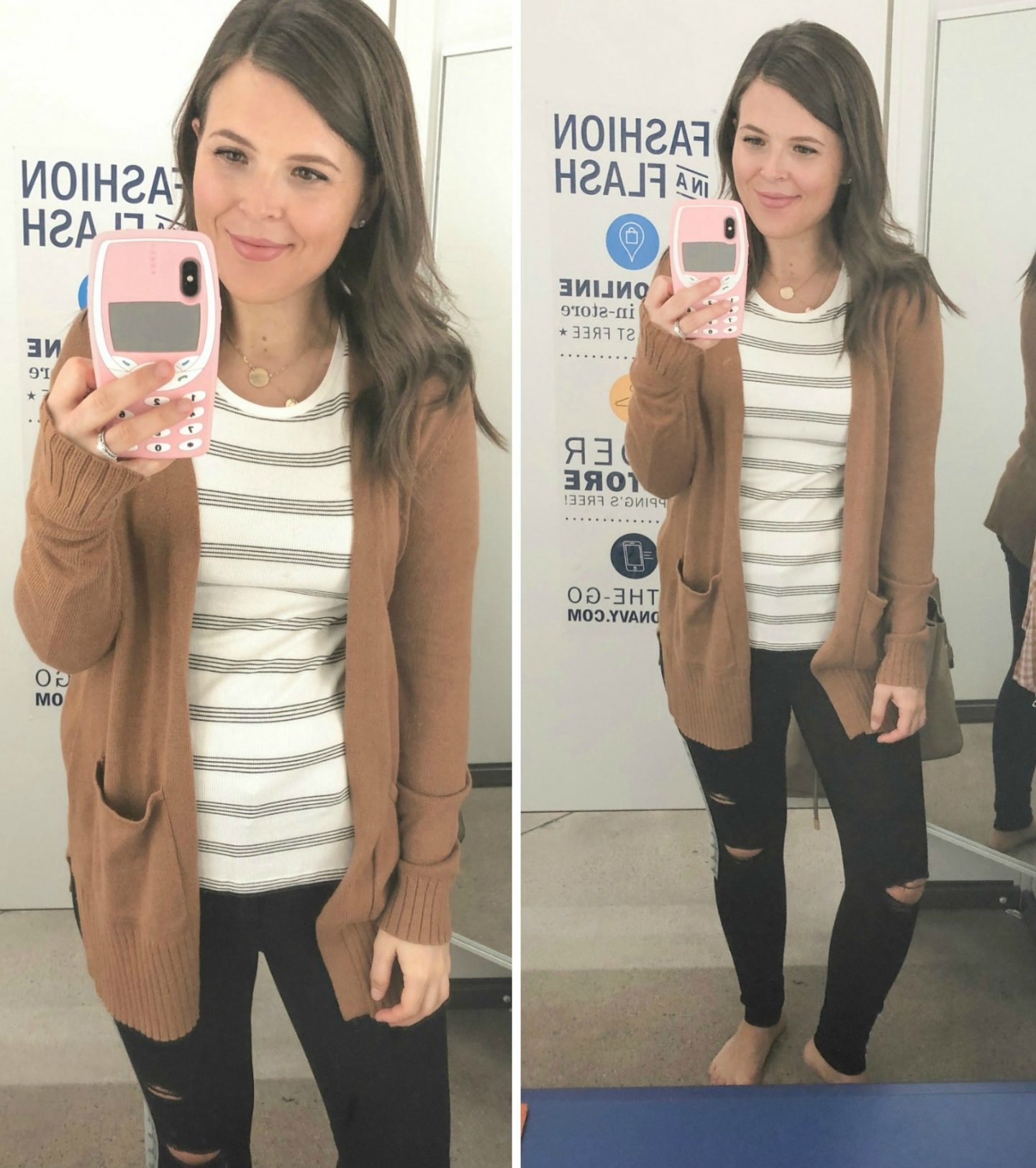 old navy fall fashion brown cardigan