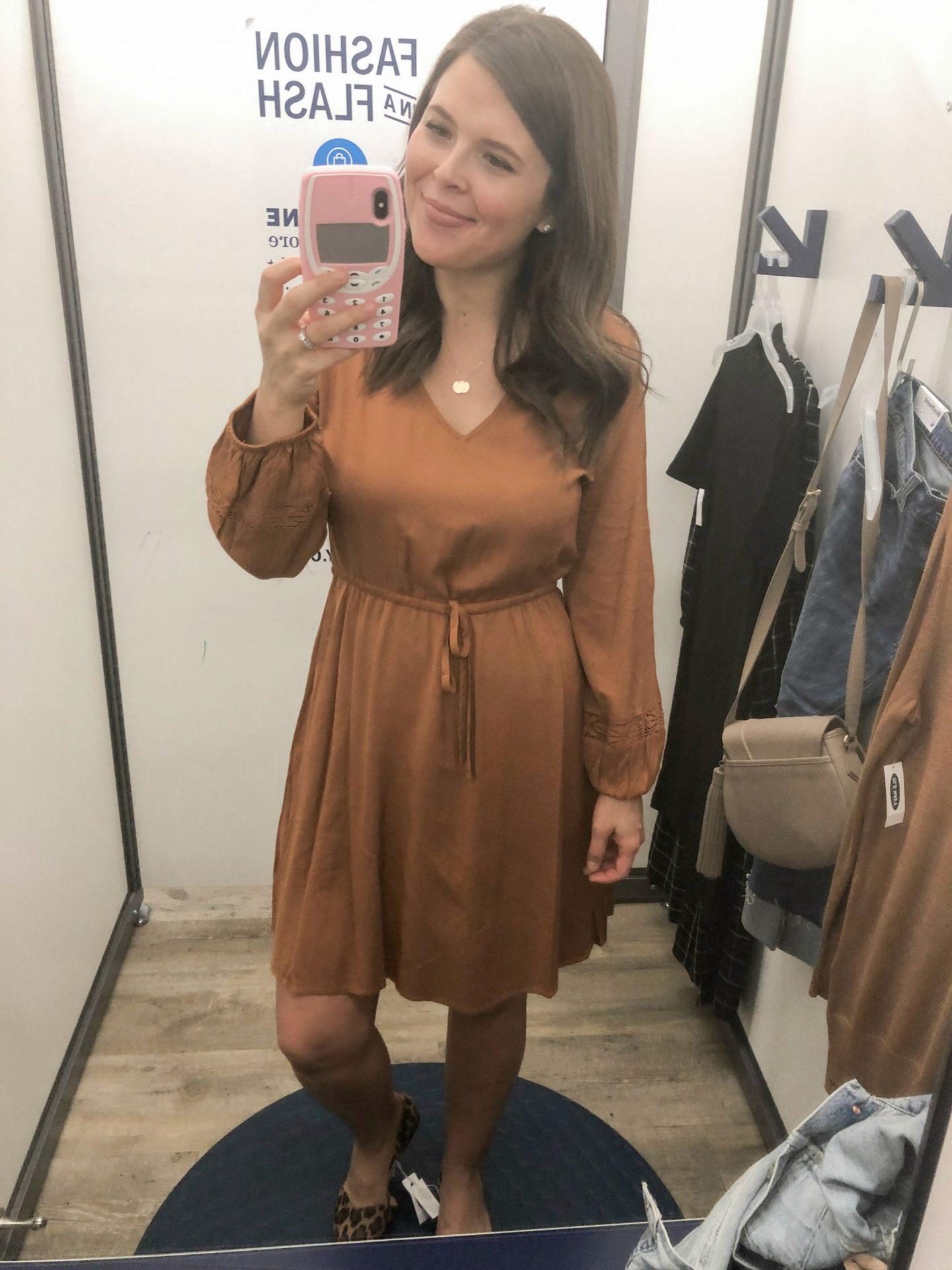 old navy fall fashion brown dress