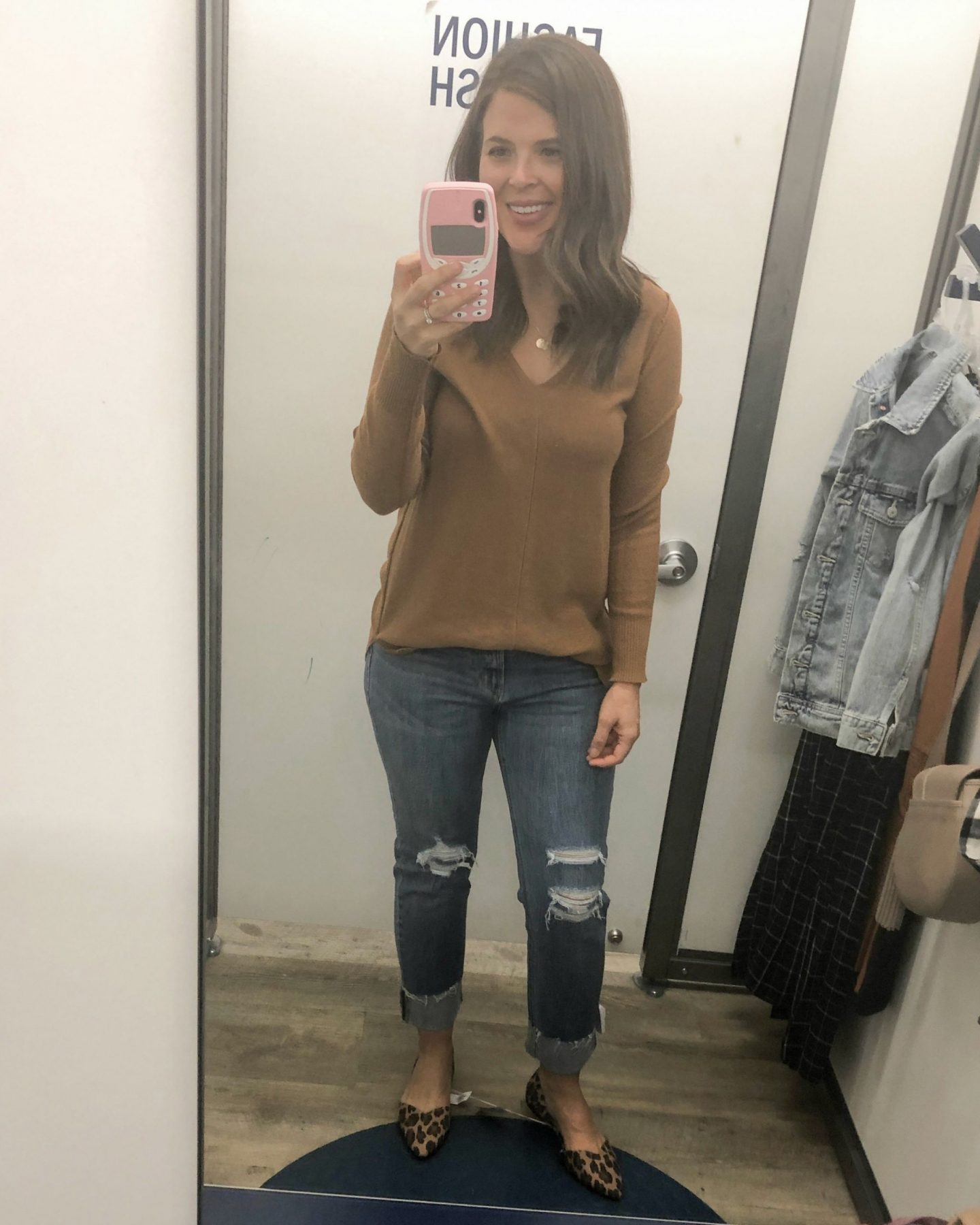 old navy fall fashion brown sweater