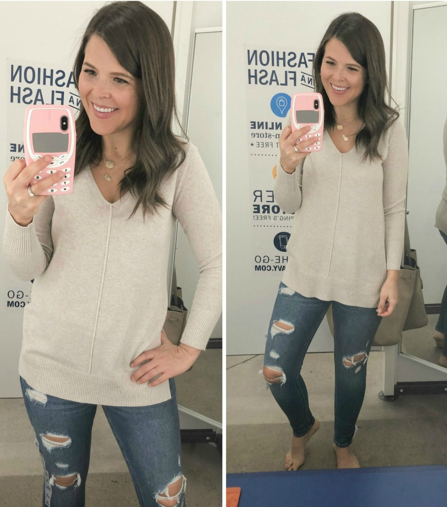 old navy fall fashion beige sweater