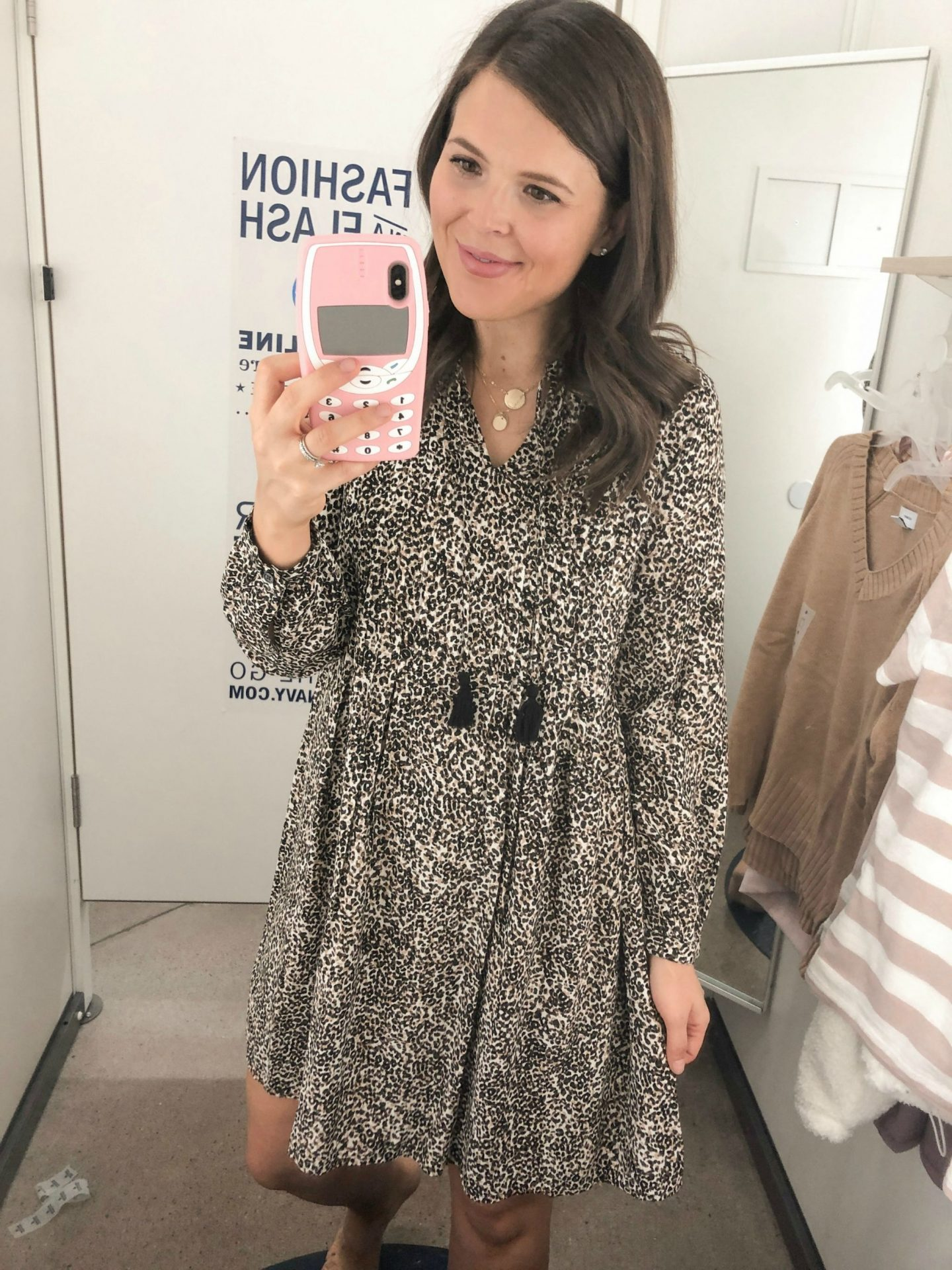 old navy fall fashion leopard dress
