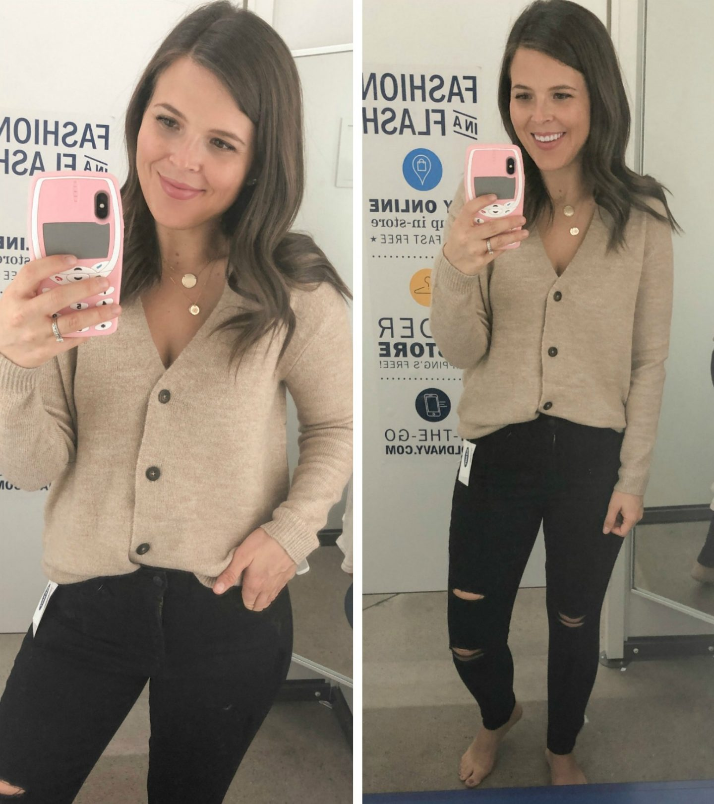old navy fall fashion neutrals button cardigan