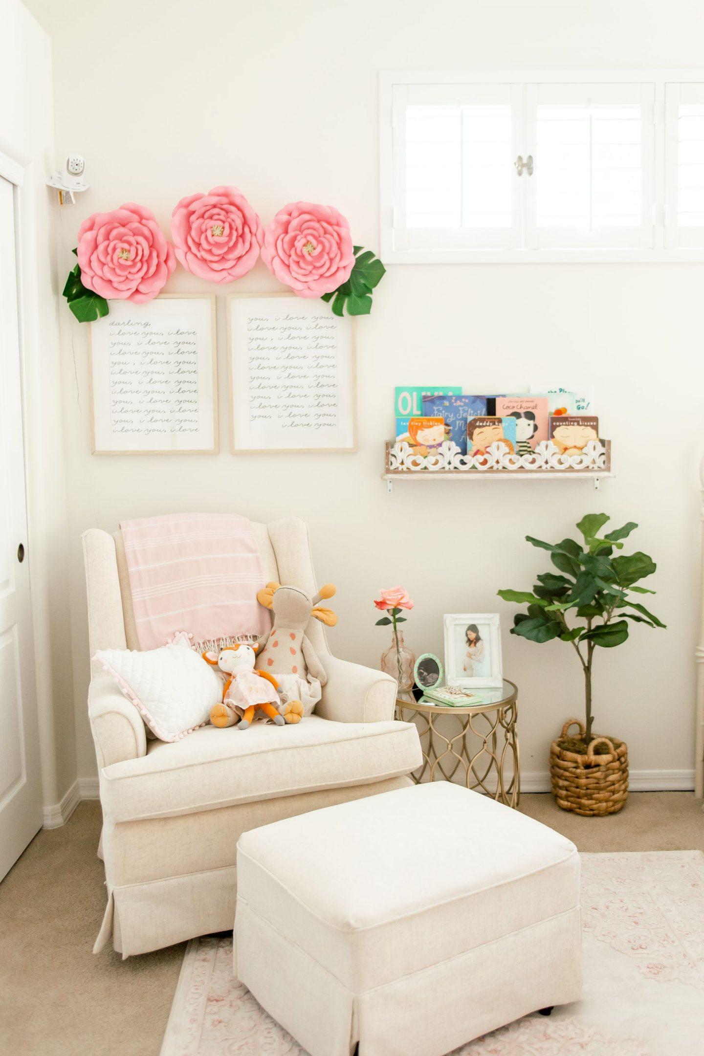 baby girl nursery 2020 florals reading nook glider chair