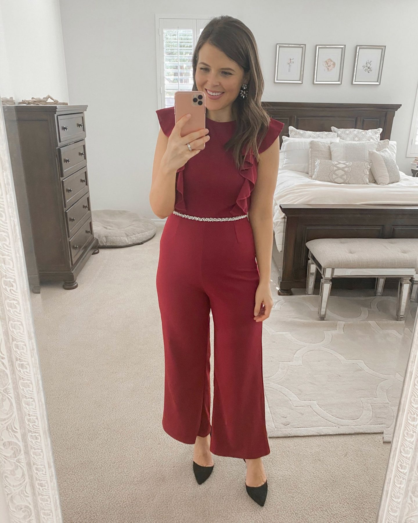 amazon holiday party looks christmas outfits 2019 brie bemis rearick red jumpsuit