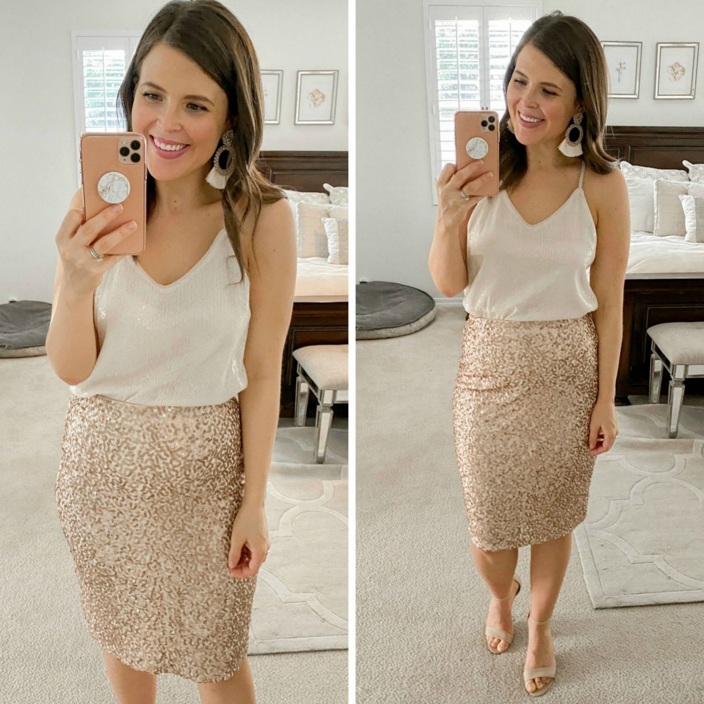 amazon holiday party looks christmas outfits 2019 brie bemis rearick sequin skirt sequin camisole