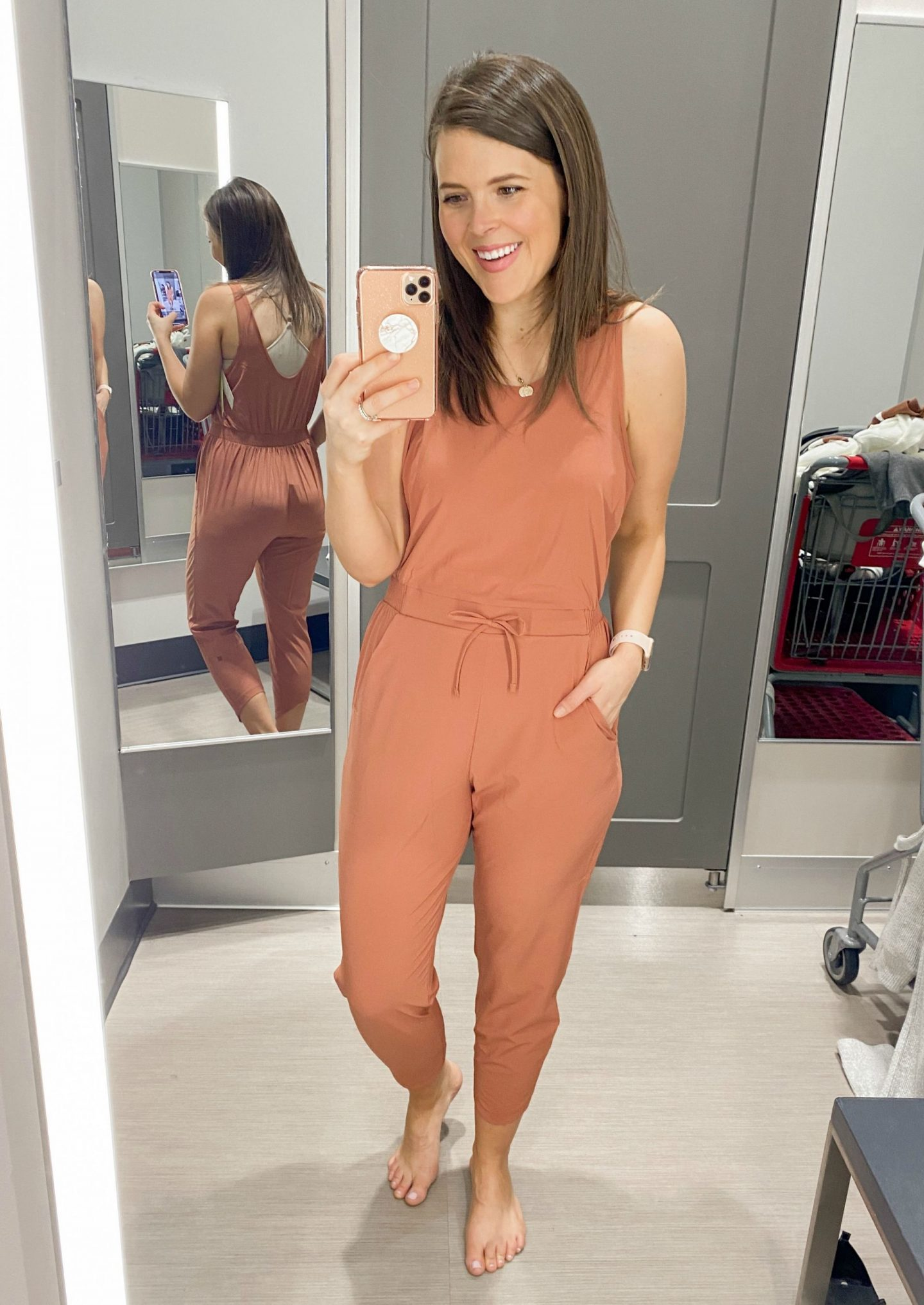 January Target Try On Session Brie Bemis Rearick All in Motion Jumpsuit