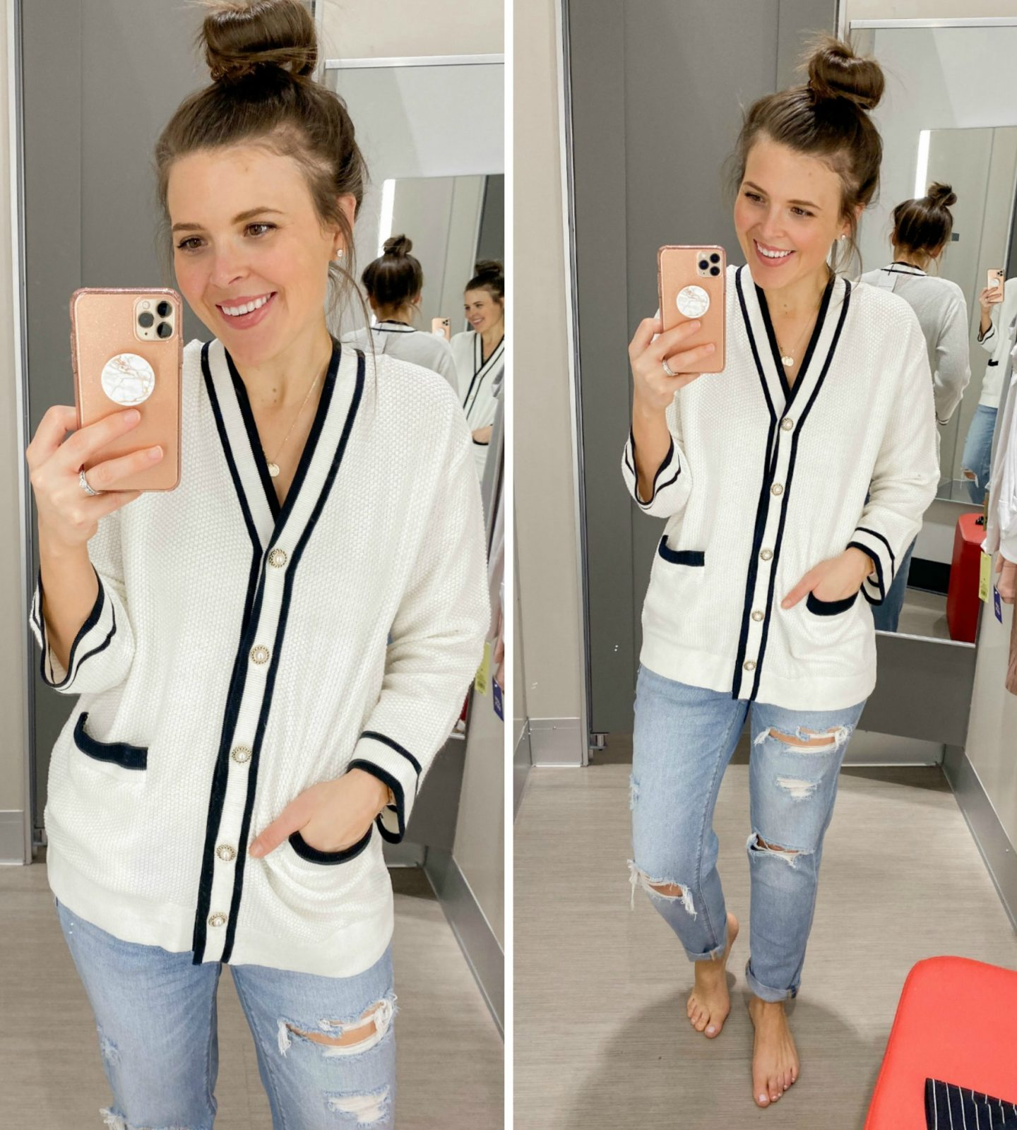 January Target Try On Session Brie Bemis Rearick Who What Wear Varsity Cardigan