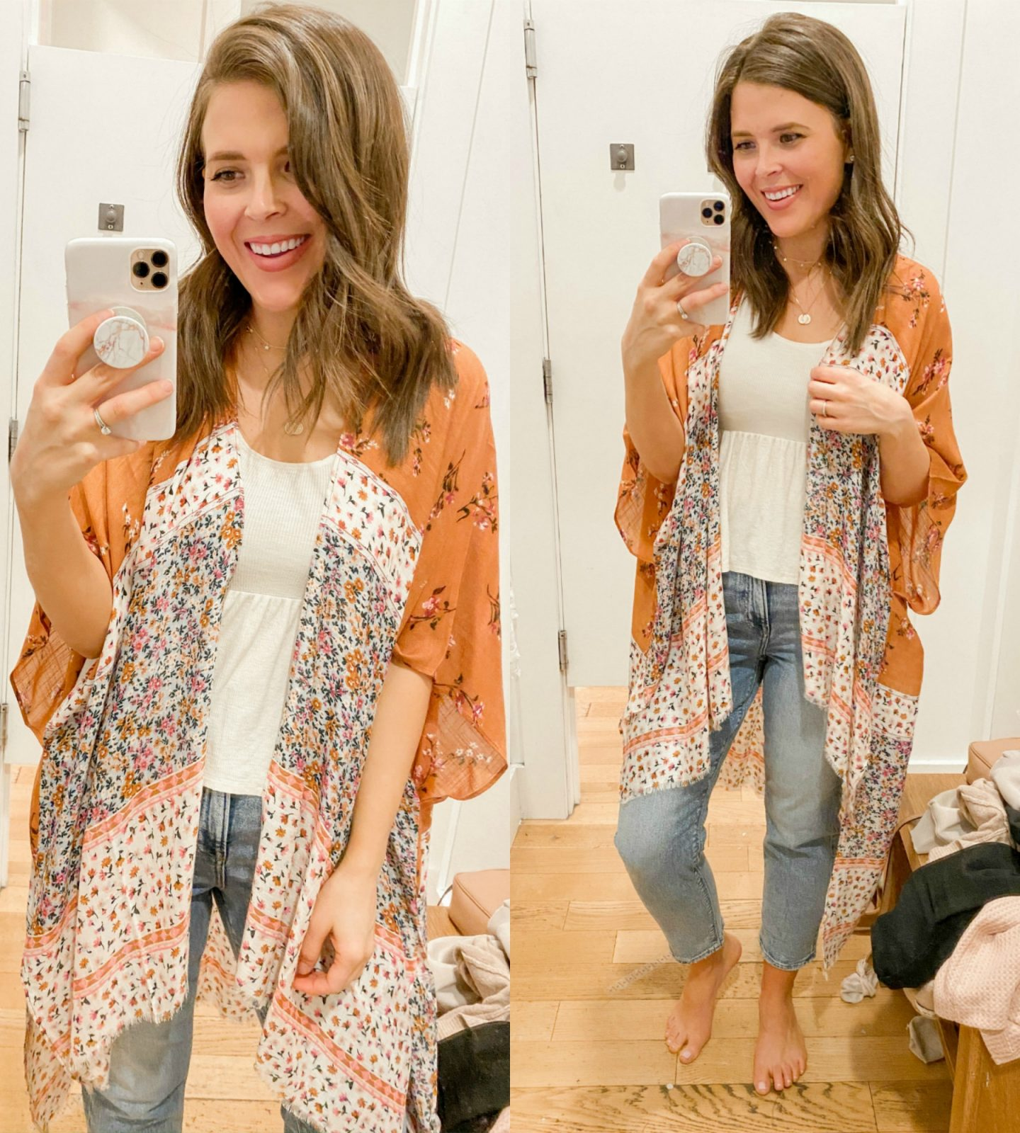 3_brie_bemis_rearick_american_eagle_aerie_try_on_session_spring_2020_floral_kimono