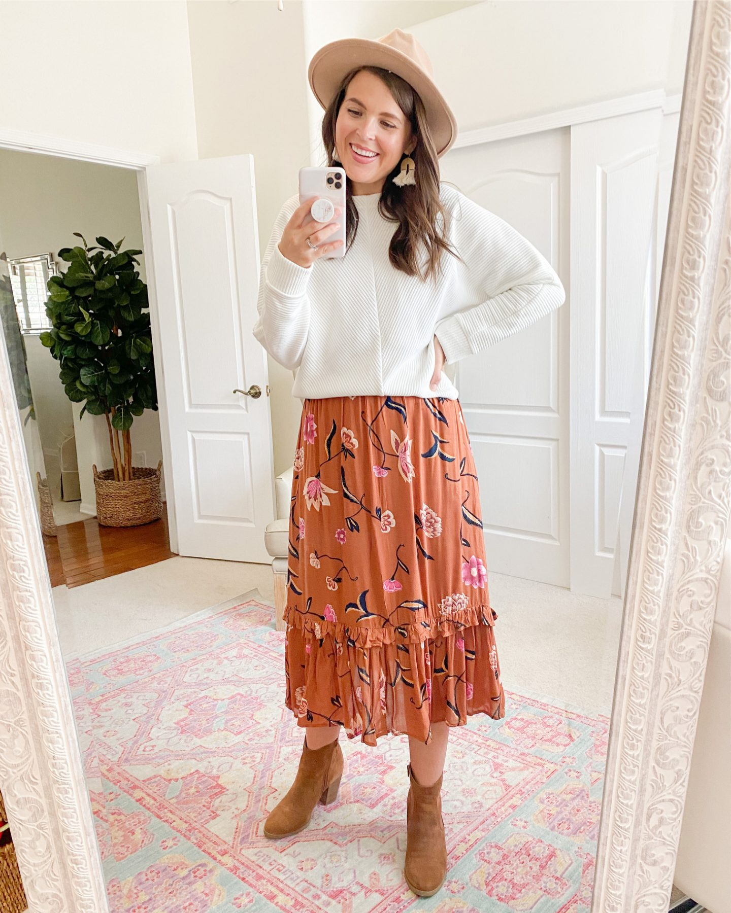 target fall capsule wardrobe A New Day Long Sleeve Ottoman Ribbed T-Shirt universal thread floral dress