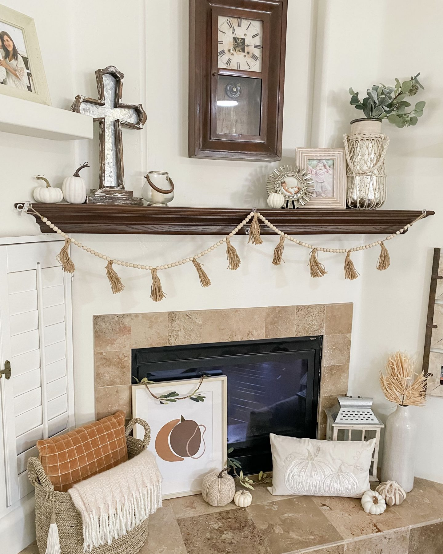 fall home decor fireplace