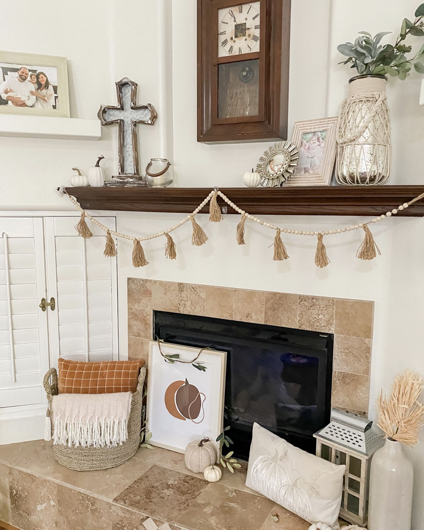 fall home decor fireplace wood bead garland