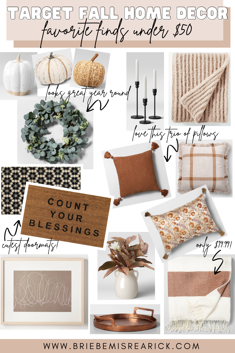 fall home decor target under $50