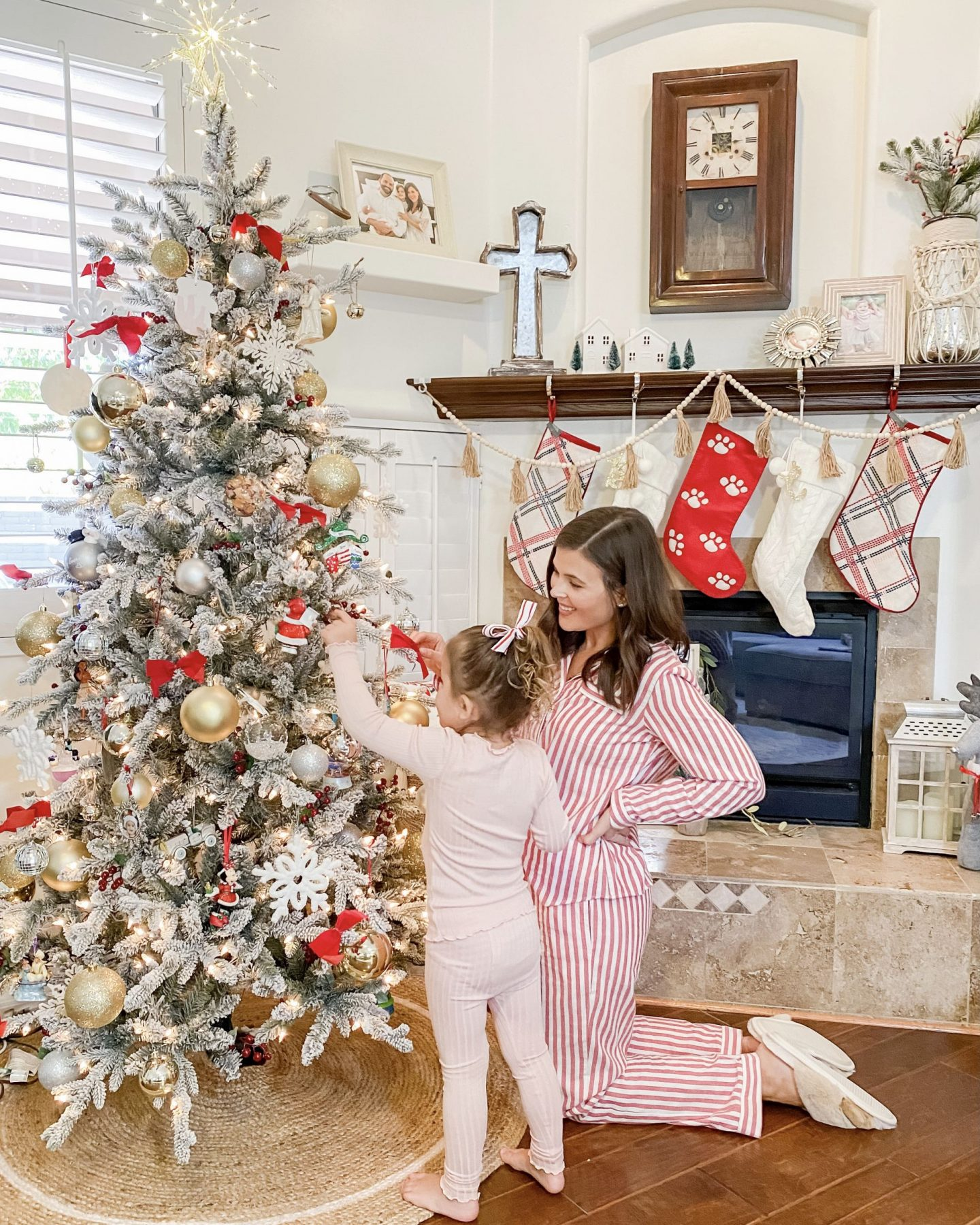 Christmas Home Tour Holiday Decor Flocked Tree