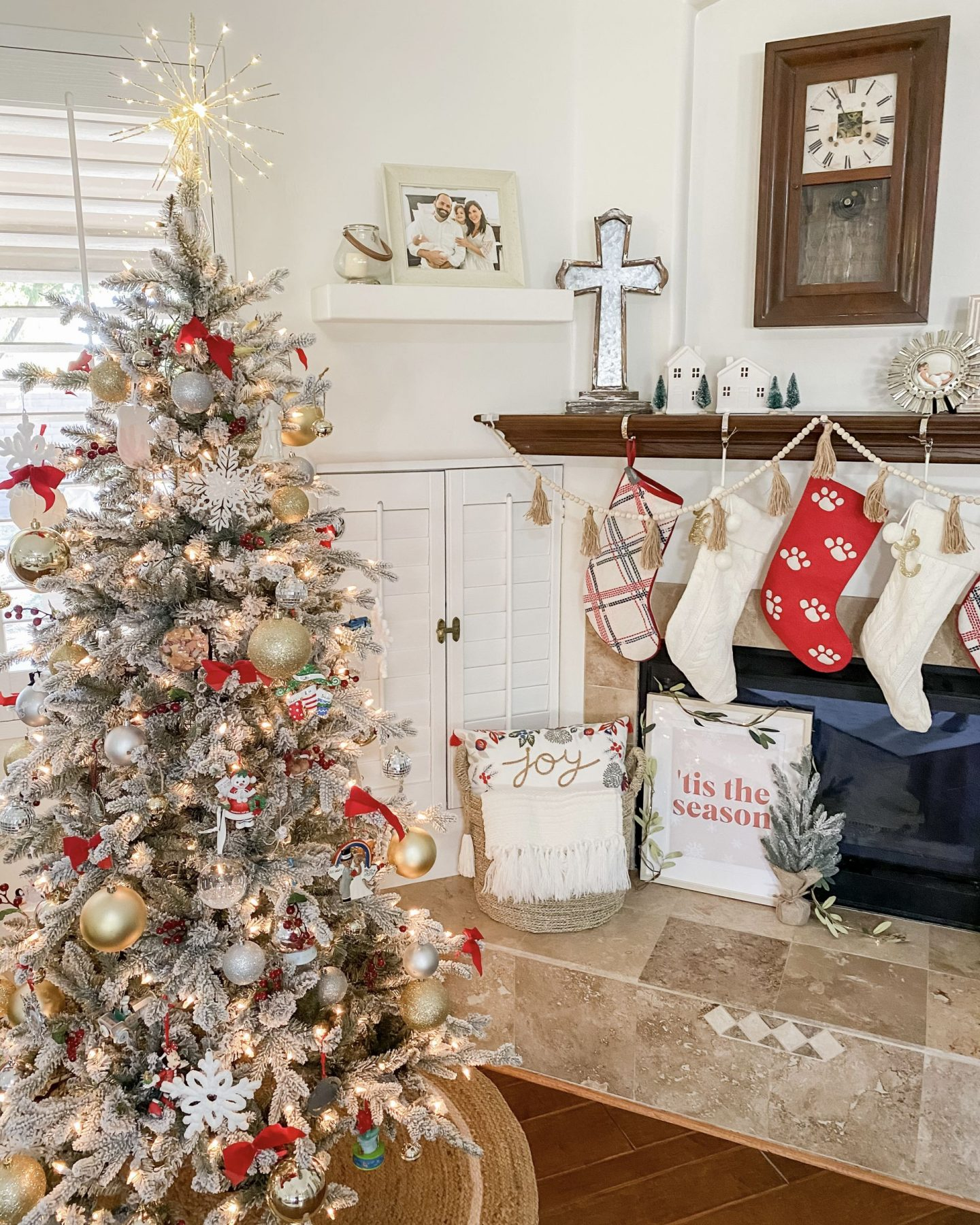 Christmas Home Tour Holiday Decor Flocked Tree Stockings