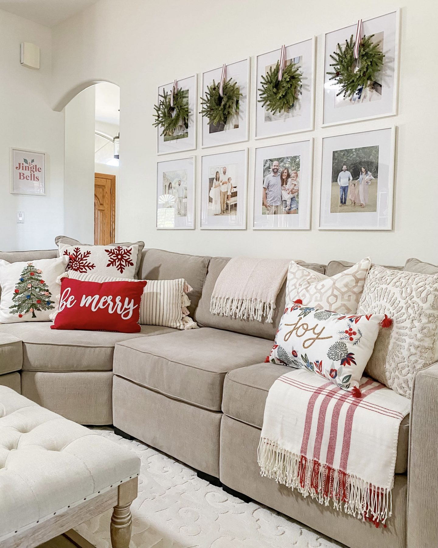 Christmas Home Tour Holiday Decor Wreaths Over Picture Frames