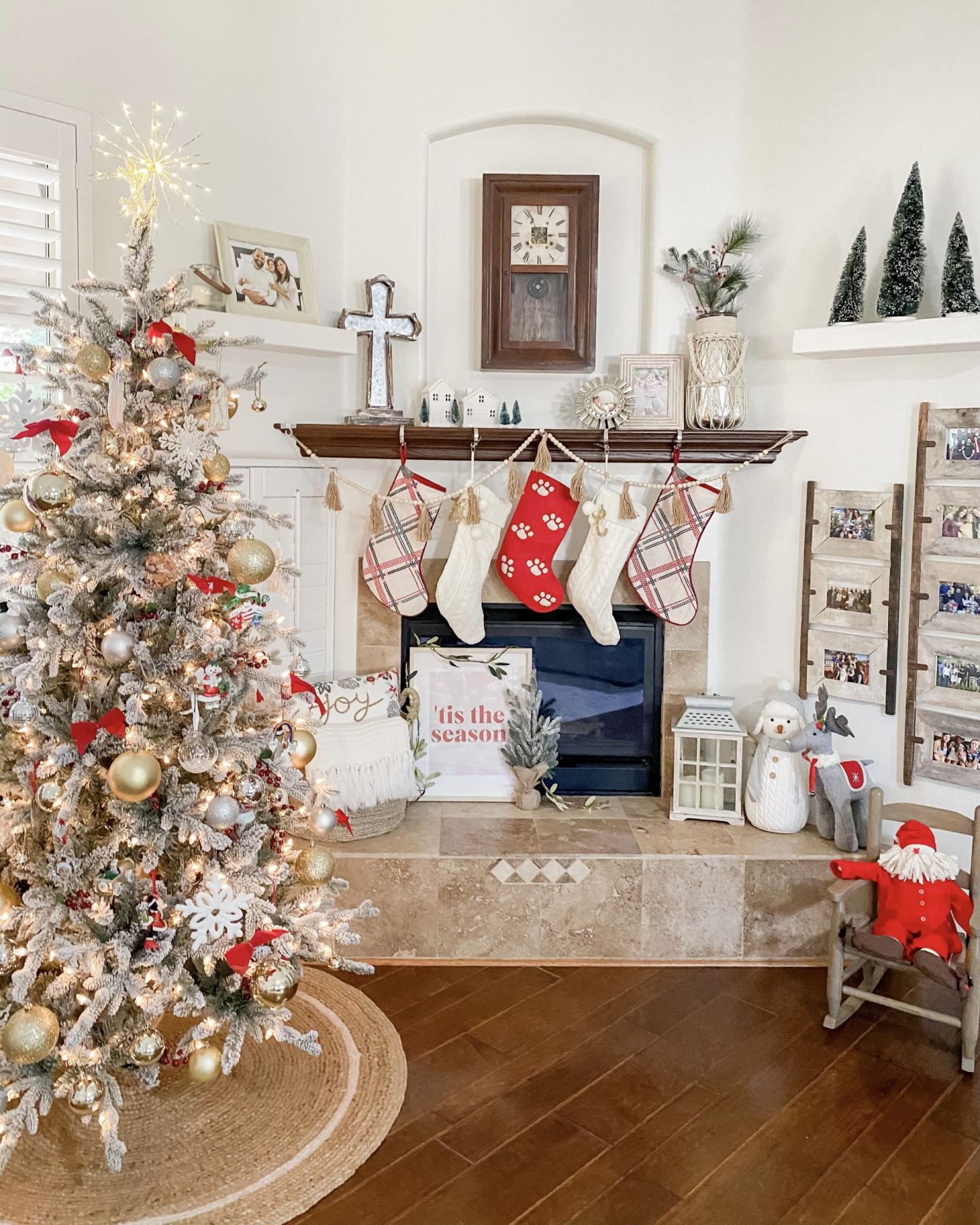 Christmas Home Tour Holiday Decor Flocked Tree Fireplace